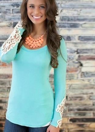 Блуза с кружевом. бирюзовая кофта реглан. водолазка новая