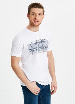 Белая мужская футболка lc waikiki / лс вайкики racing & cruisi...