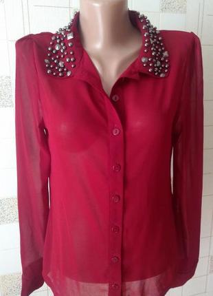 Шифоновая блуза цвета марсала с красивым декорированным воротн...