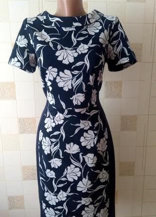 Элегантное платье темно-синее в серых цветах бренд tu
