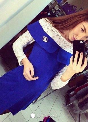 Красивое плотное платье с кружевом