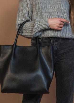 Большая комфортная женская сумка шоппер с короткими ручками