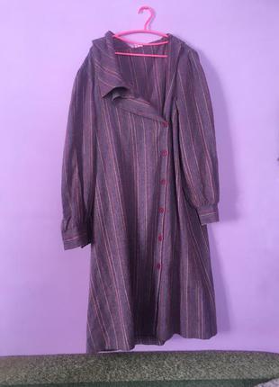 Платье шерстяное большой размер в полоску тёплое длинный рукав