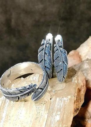 Серебряное кольцо и серьги