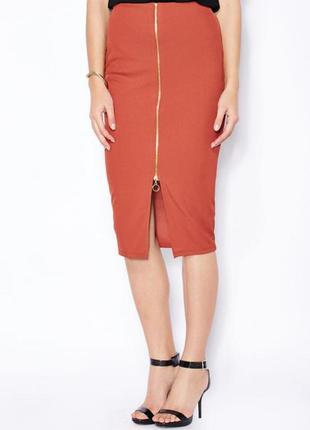 Красная юбка миди карандаш с замком спереди