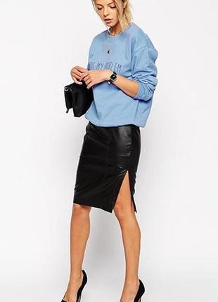 Кожанная юбка карандаш с разрезом спереди эко-кожа кожзам, раз...