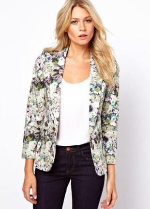 Качественный коттоновый пиджак в цветочный принт oasis, uk8, xs-s