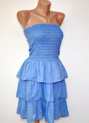 Летний коттоновый сарафан платье-бандо с открытыми плечами и о...