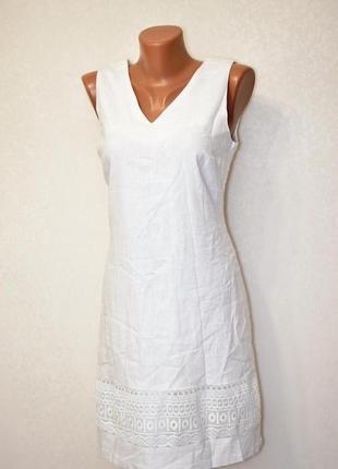Белое льняное платье с кружевом peacocks лен, вискоза