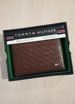Кожаный кошелек мужской tommy hilfiger фирменный портмоне ориг...