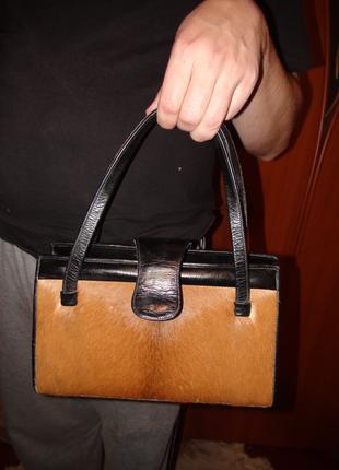 Кожаная сумка с натуральным мехом пони. Англия.