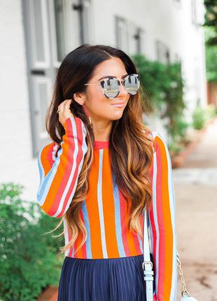 Полосатый укороченый  джемпер свитер topshop