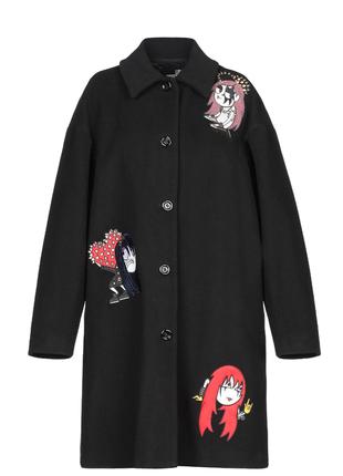 Новое шерстяное пальто love moschino оверсайз пайетки аппликация