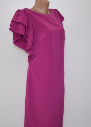 Платье цвета фуксия с интересными рукавами autograph