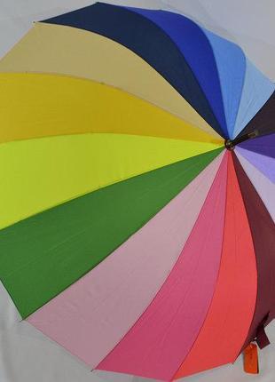 Шикарный яркий женский зонт-трость радуга