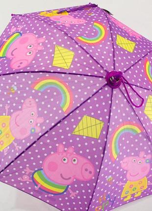 Детский зонтик от 4 до 9 лет. свинка пеппа фиолетовый