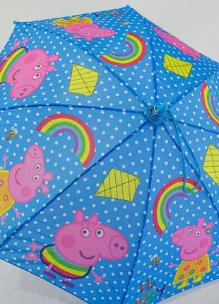 Детский зонтик от 4 до 9 лет. свинка пеппа голубой