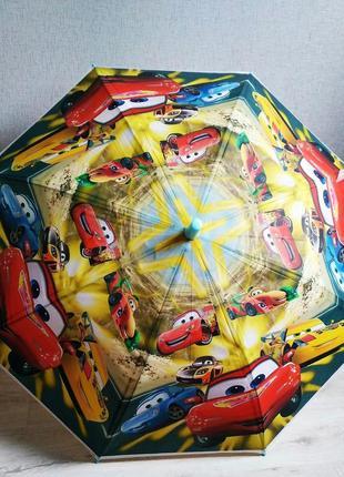 Яркий зонтик для мальчика от 5 до 9 лет тачки макквин