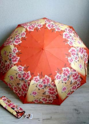 """Качественный зонт-полуавтомат  оранжевые цветы """"amico"""" с систе..."""