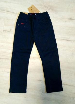 Новые синие котоновые зимние брюки 98, 104, 122 на флисе для м...