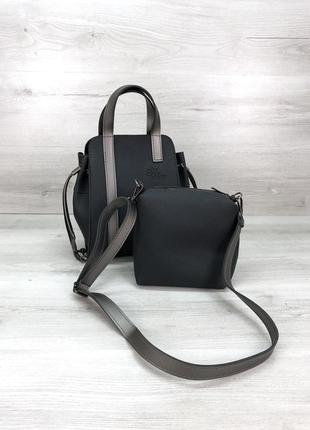 Набор 2в1 сумка и косметичка-клатч черная графит