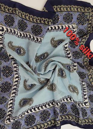 Брендовый шелковый платок! натуральный шелк