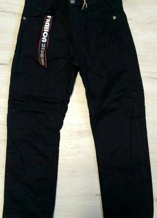 Новые черные котоновые брюки на флисе 98-128 для мальчиков. ве...