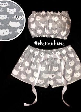 Котики пижама комплект для сна топ бандо и шорты