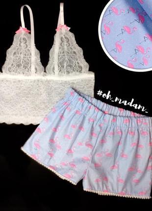 Пижама хлопок и кружево шорты и топ комплект для сна