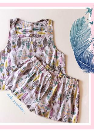 Пижама хлопок комплект для сна шорты кроп топ