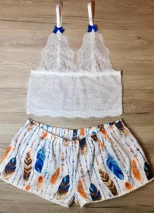 Пижама хлопок топ кружево шорты комплект для сна