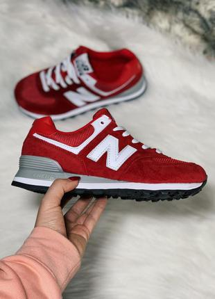 New balance 574 red шикарные женские кроссовки нью беленс