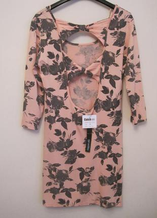 Платье туника цвет пудры открытая спинка m/l