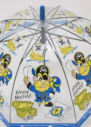 Детский прозрачный зонтик трость купольный грибочком от 2 до 6...