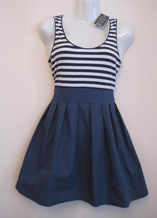 Платье коттон полоска белая синяя s/l