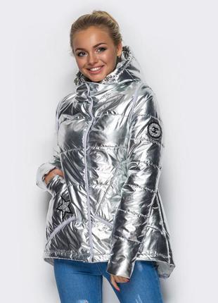 Куртка дутая зефирка серебристый металлик новая s