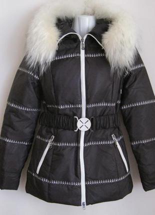 Куртка пуховик натуральный мех песец xs