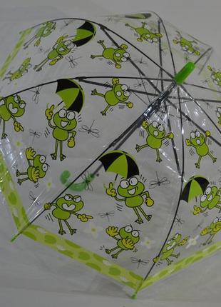 Детский прозрачный зонтик трость для маленьких деток на 2-6 ле...