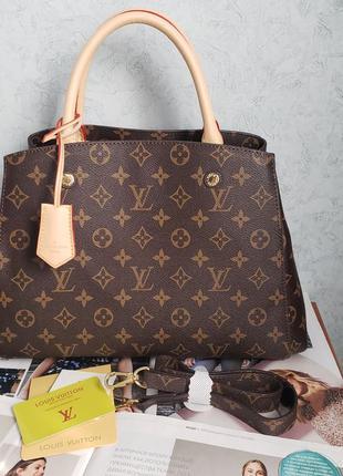 Женская сумка на плечо коричневая жіноча с замком Louis Vuitton