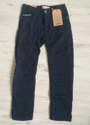 Новые синие котоновые зимние брюки на флисе для мальчиков в шк...