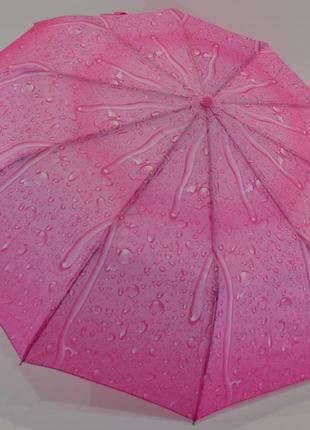 Шикарный зонт-полуавтомат капли дождя розовый