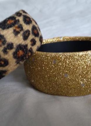 Набор браслетов золотистый+леопард
