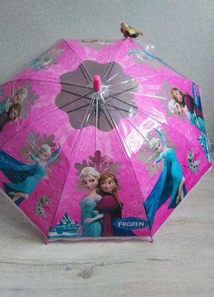 Новый яркий зонтик ледяное сердце эльза и анна с необычной ручкой