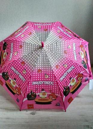 Детский зонтик для девочки angry birds злые птички 5-9 лет