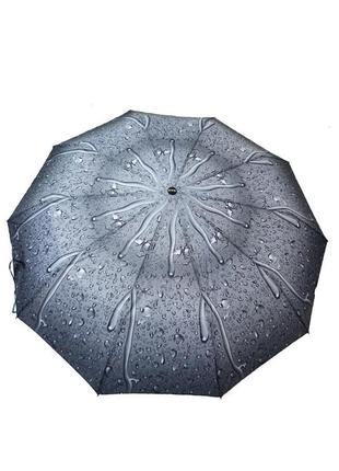Шикарный зонт-полуавтомат капли дождя  серый