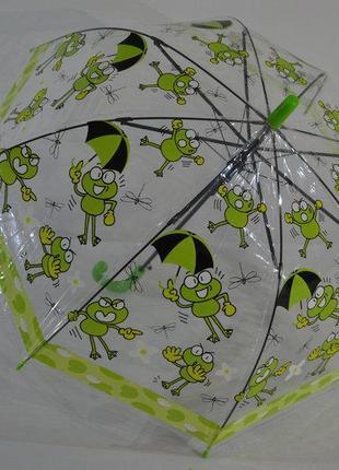 Детские прозрачные зонтики грибочком для деток на 2-6 лет жабки