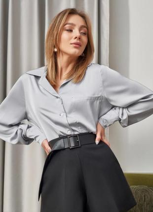 Блуза блузка атласная серого цвета