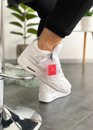 Nike jordan men air jordan 4 retro white metallic silver-pure ...