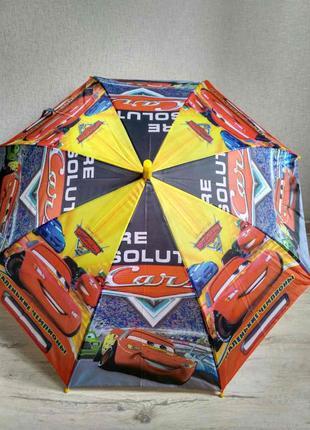Зонтик детский для мальчика 5-9 лет тачки