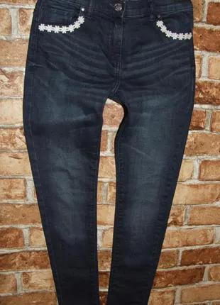 синие джинсы девочке 10 - 11 лет нарядные